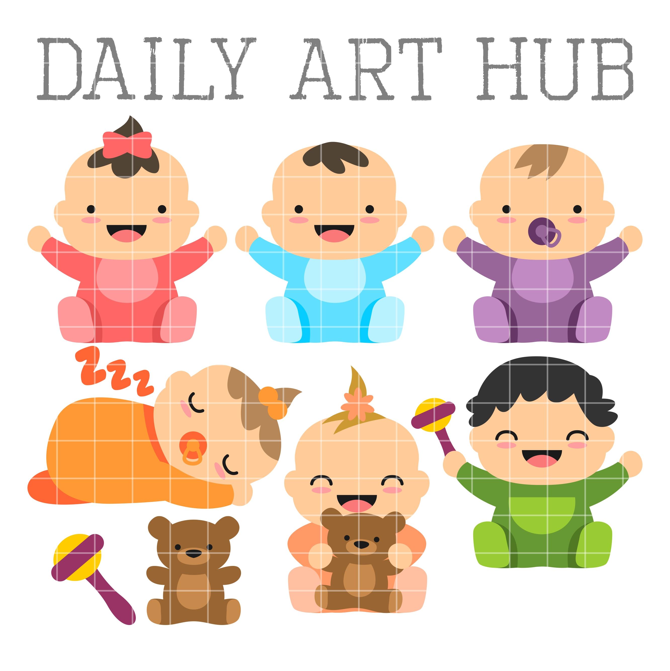 Cute Babies Clip Art Set | Daily Art Hub