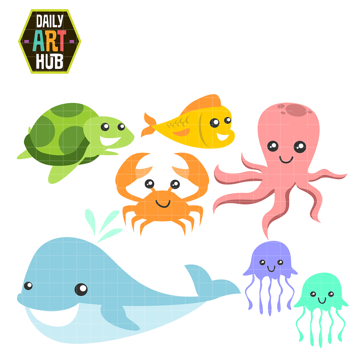 Sea Creatures Clip Art Set | Daily Art Hub