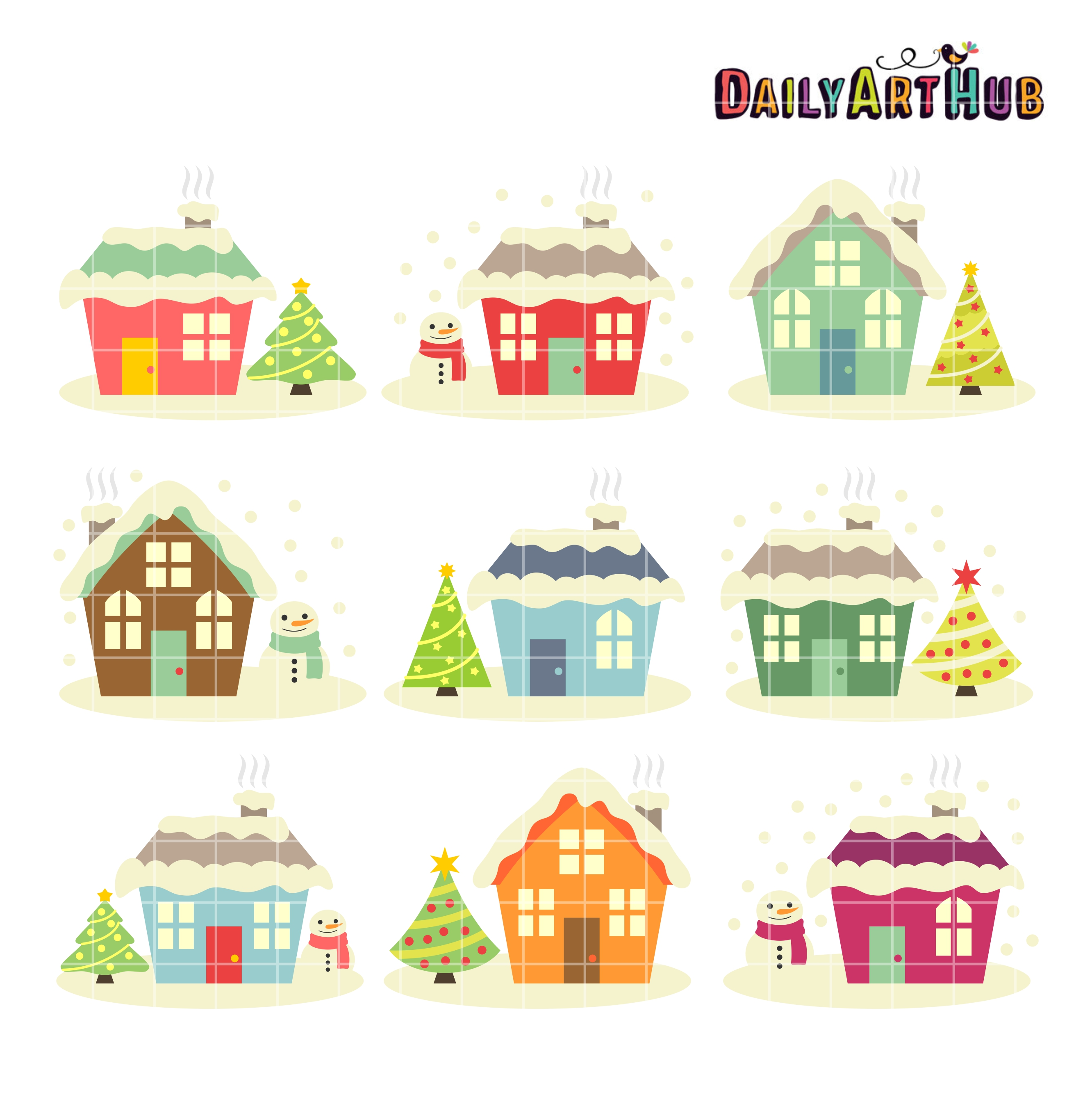 Christmas Houses Clip Art Set | Daily Art Hub