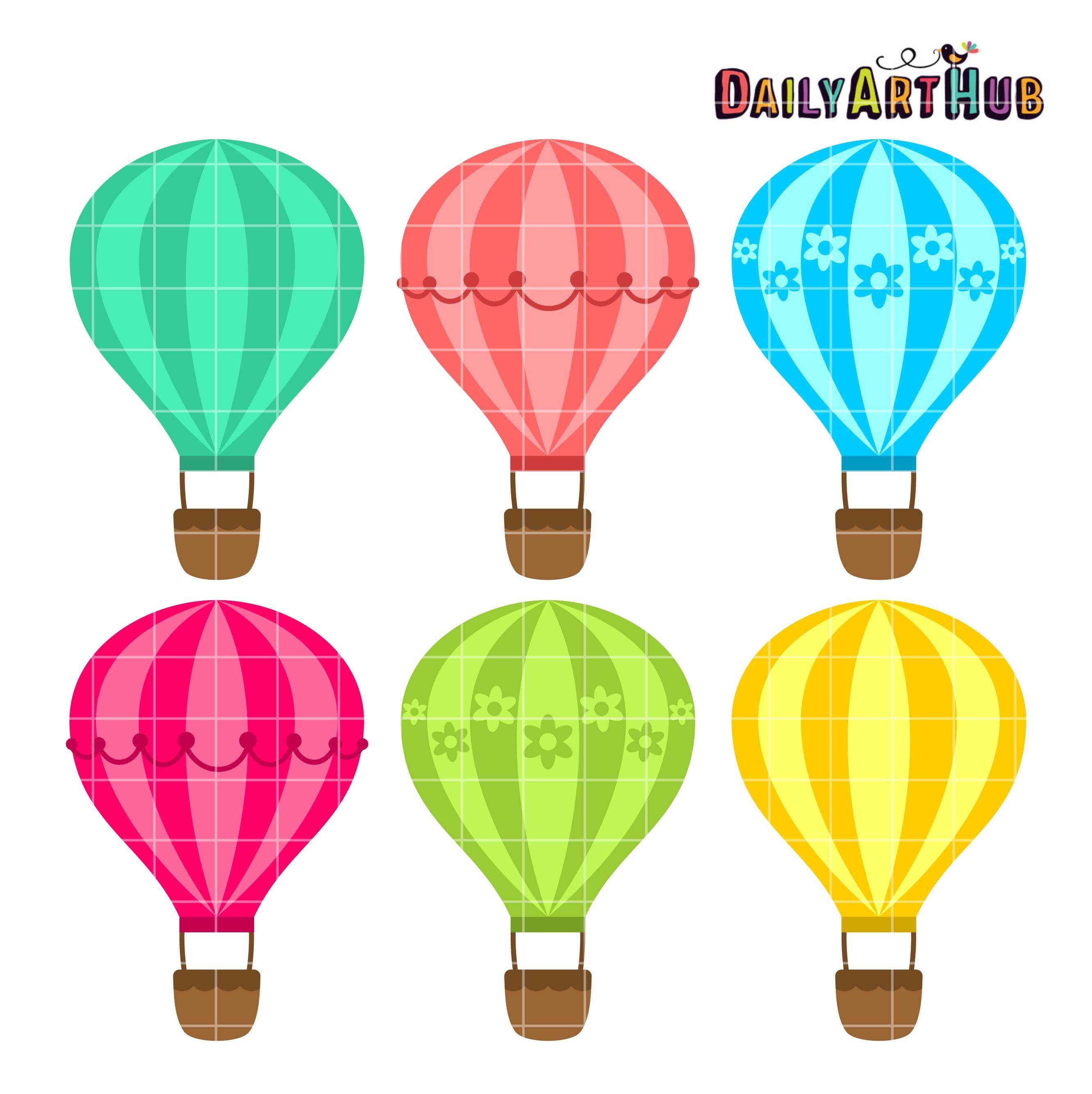 Hot Air Balloons Clip Art Set | Daily Art Hub
