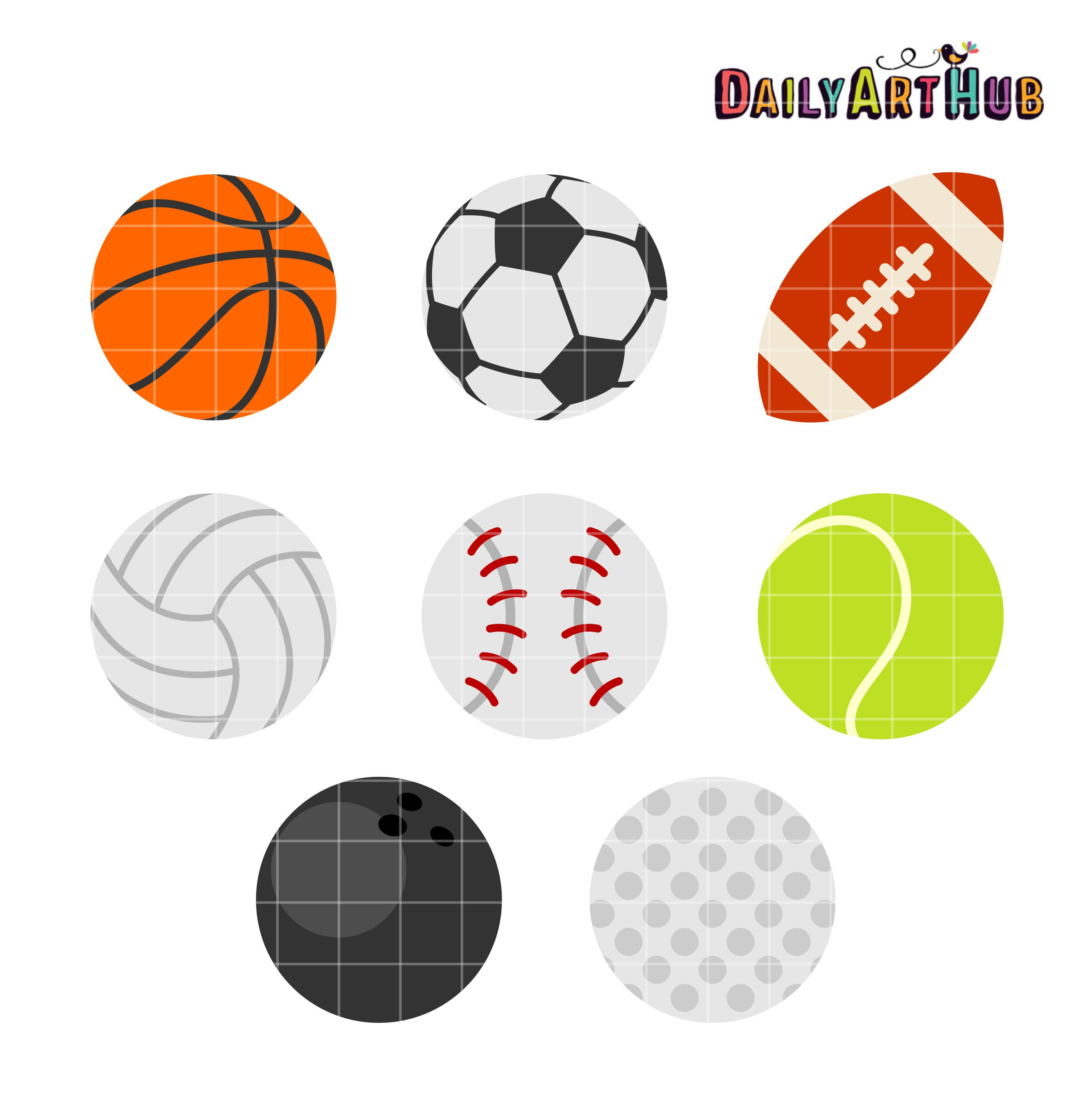 Sports Balls Clip Art Set | Daily Art Hub