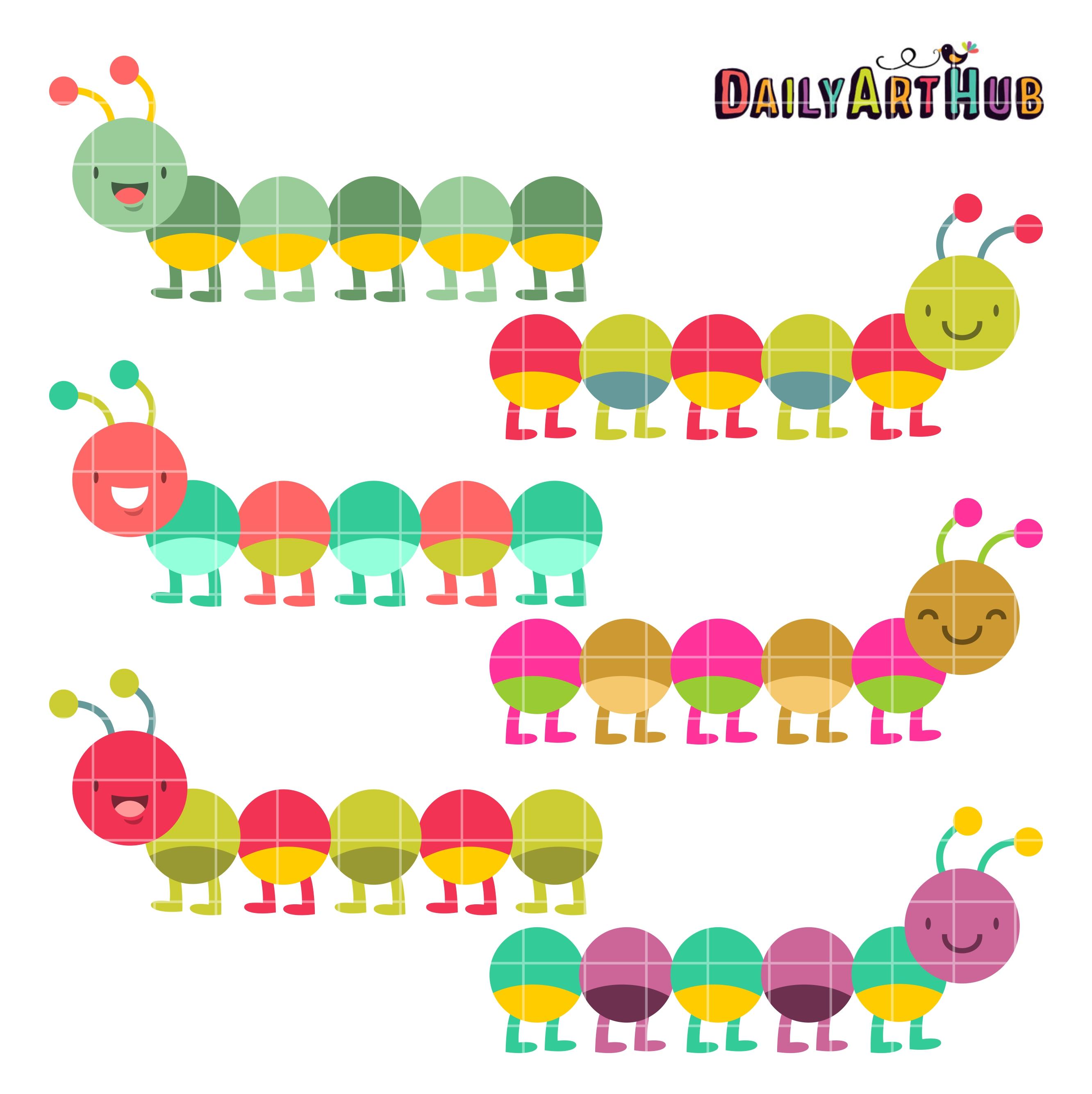 Colorful Caterpillars Clip Art Set Daily Art Hub Free