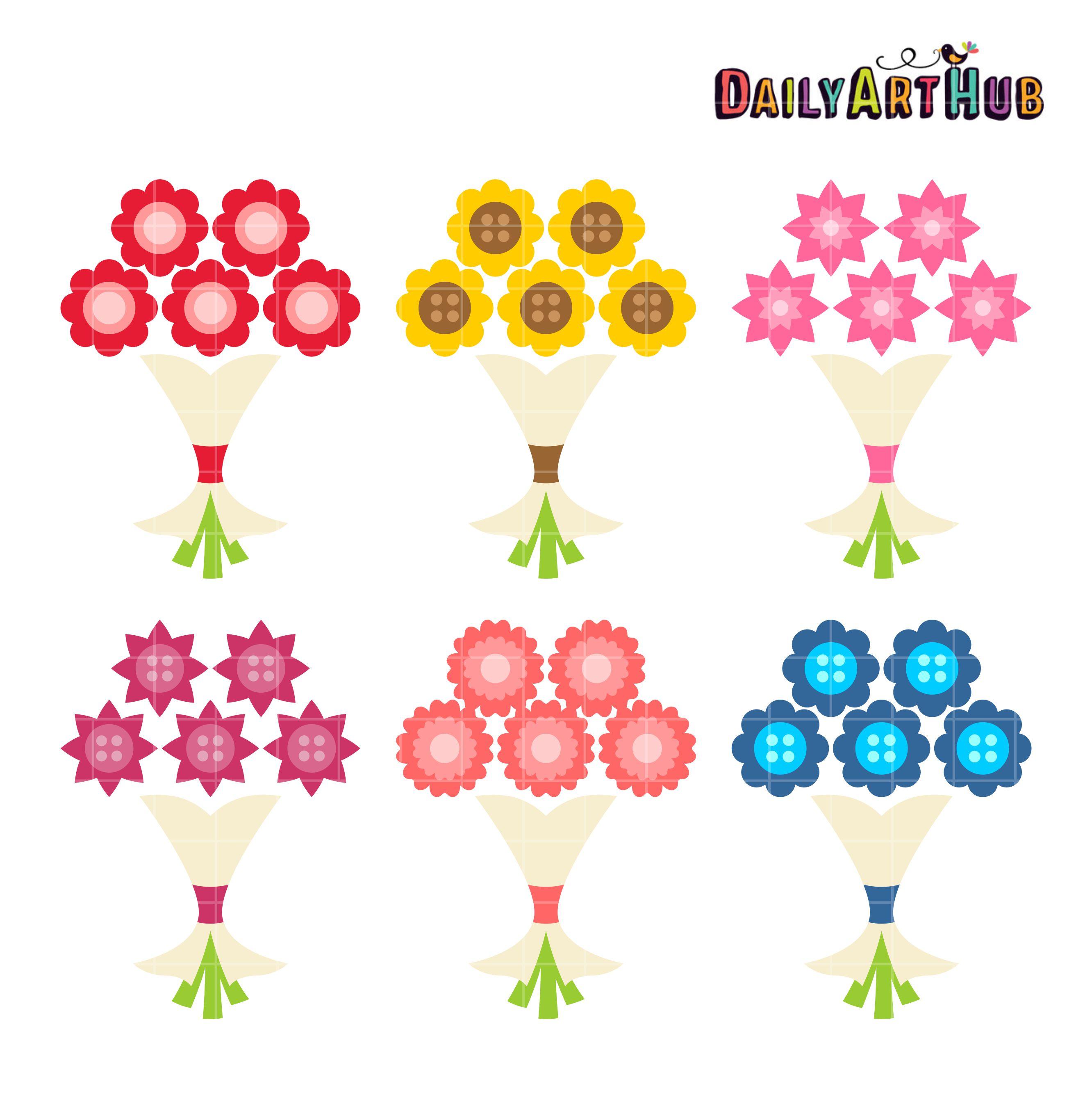 Simple Flower Bouquet Clip Art Set | Daily Art Hub