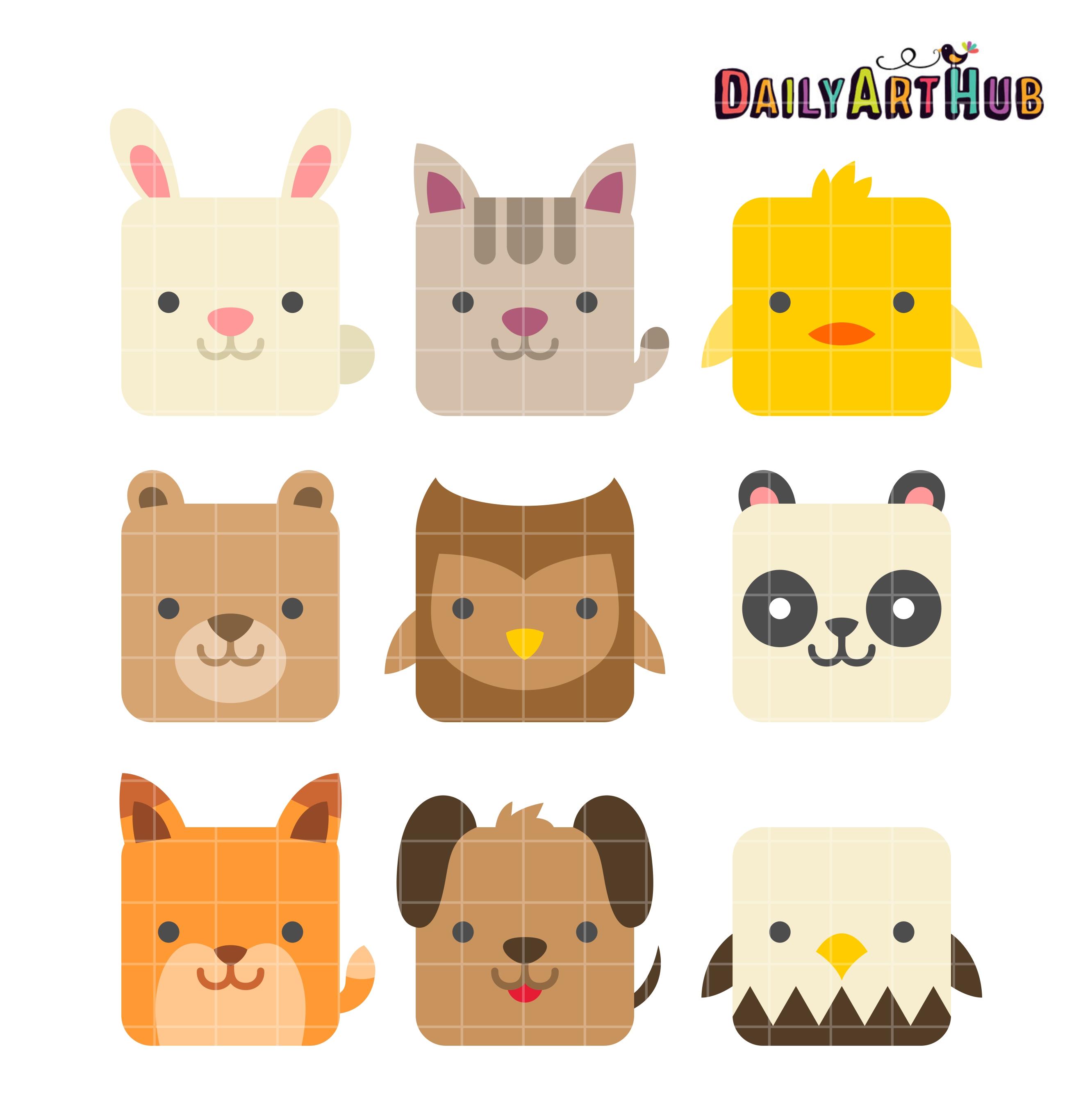 Square Cute Animals Clip Art Set | Daily Art Hub