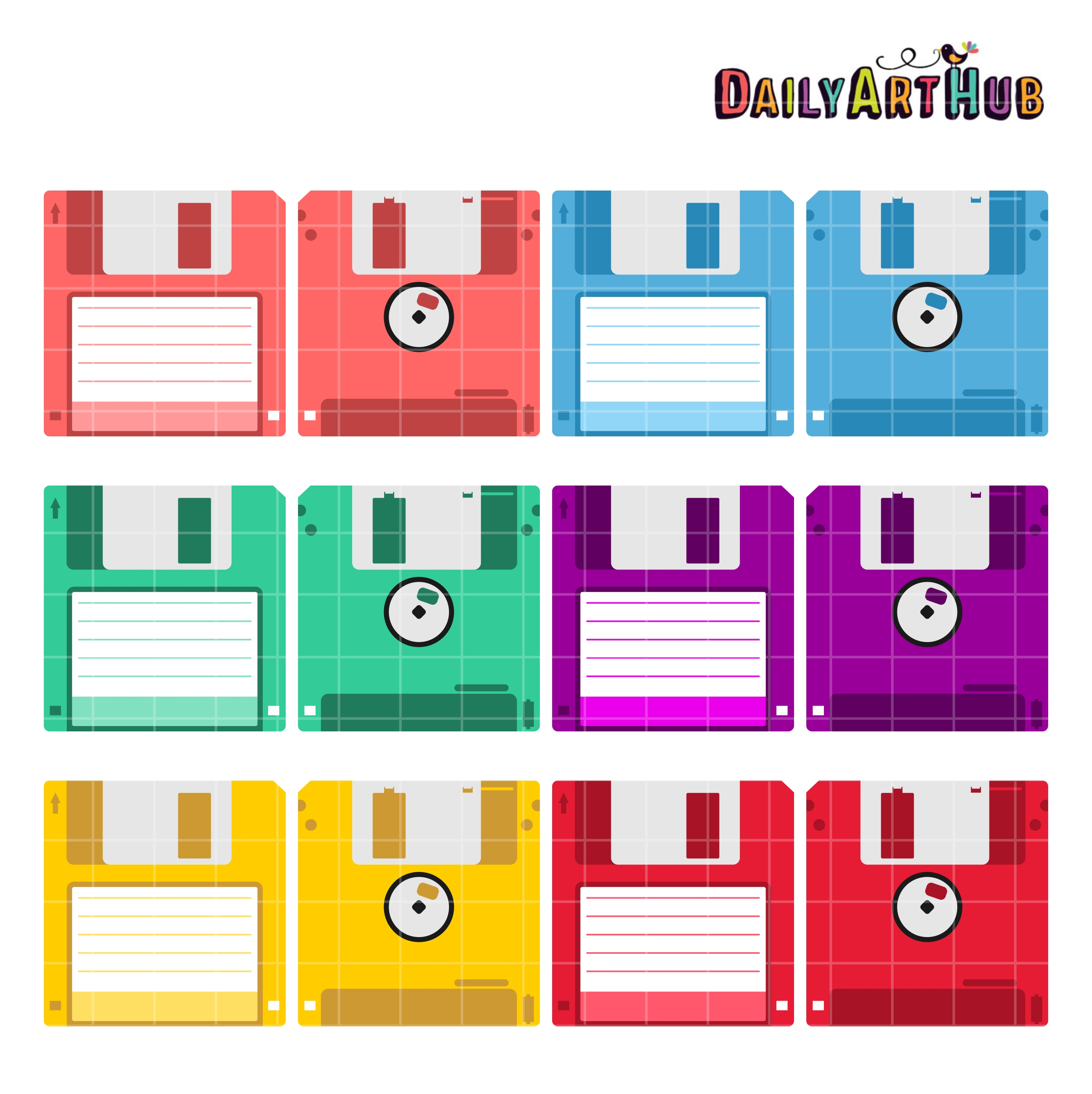 Floppy Disks Clip Art Set | Daily Art Hub