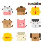 Square Farm Animals